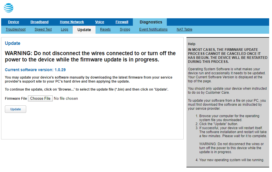 Screenshot of the BGW210-700's firmware update page.