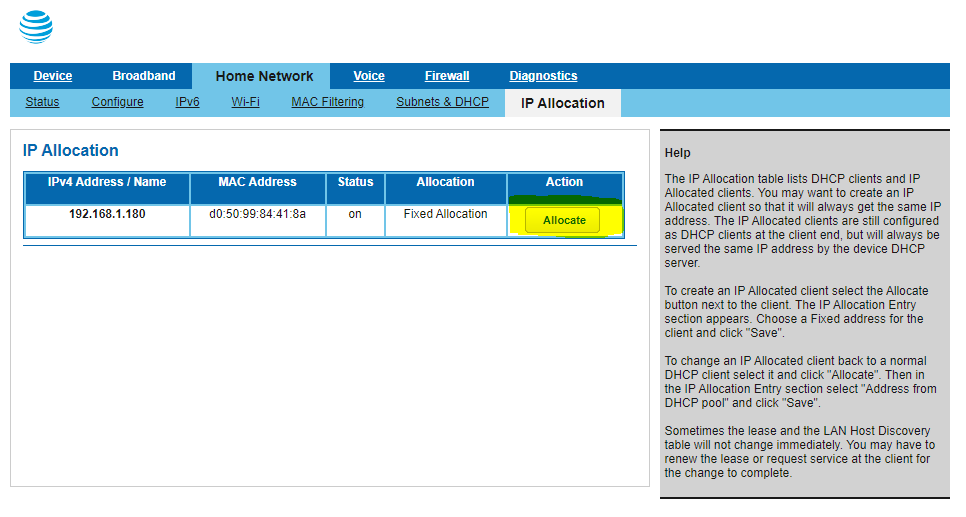 Screenshot of the BGW210-700's IP Allocation page, with the allocate button highlighted for my desktop client device.