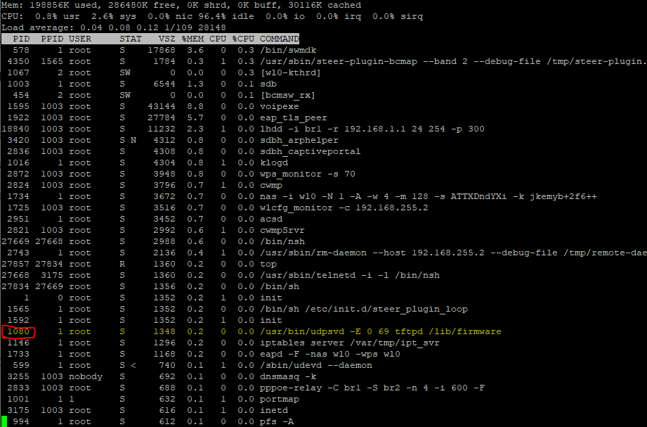 "Screenshot of the results of running ""top"" on the BGW210-700, with teh autoupdater daemon process highlighted."